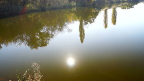Lake landscape with trees mirrored in water, lens flare and October sun stock footage