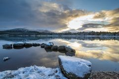 Lake landscape in winter royalty free stock photos