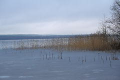 Lake landscapes with snow on the ice. Royalty Free Stock Images