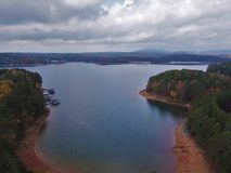 Lake Lanier Buford Georgia aerial photography. Lake Lanier in Buford Georgia from above with nice trees and shore line Stock Photos