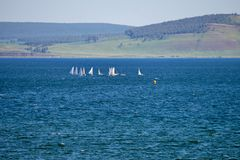 Sports yachts on the lake, against the backdrop of the mountains. Lake Large is located in the foothills of the Kuznetsk Alatau Royalty Free Stock Photography
