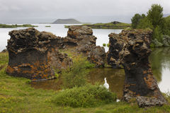 Lake and lava formations in Myvatn Iceland Stock Photos