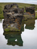 Lake and lava formations in Myvatn Iceland Royalty Free Stock Images