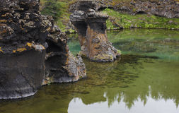 Lake and lava formations in Myvatn Iceland Royalty Free Stock Photography