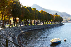 Lake Lecco in fall, Italy Stock Photo