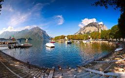 Lake Lecco, Lombardy, Italy. Italian village in Lecco Lake Lecco, Lombardy, Italy Stock Photo