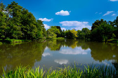 Lake in Lednice Park. Scenic view of cloudscape reflecting on lake in Lednice Park, South Moravia, Czech Republic Royalty Free Stock Photography