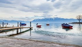 Lake Leman on cloudy day. City of Lausanne, Switzerland royalty free stock photo