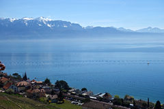 Lake Leman and French Alps Stock Photos