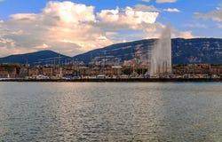 Lake Leman in the Swiss city of Geneva Stock Image