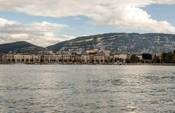 Lake Leman in the Swiss city of Geneva Stock Photos