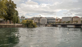 Lake Leman in the Swiss city of Geneva Royalty Free Stock Photography