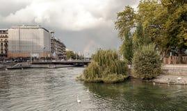 Lake Leman in the Swiss city of Geneva Stock Images