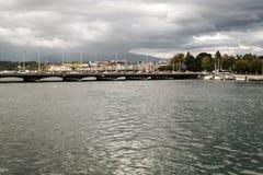 Lake Leman in the Swiss city of Geneva Stock Photo
