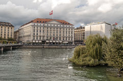 Lake Leman in the Swiss city of Geneva Royalty Free Stock Images