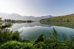Lake of Levico - Trentino Alto Adige - Italy. Lago di Levico Lake at dawn, Levico Terme, Trentino Alto Adige, Italy, Europe royalty free stock photo