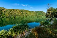 Lake of Levico - Trentino Alto Adige - Italy. Lago di Levico Lake with mountain and forest, Levico Terme, Italy, Europe royalty free stock photo