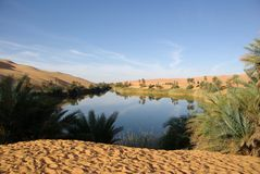 Lake in Libyan desert Royalty Free Stock Photos