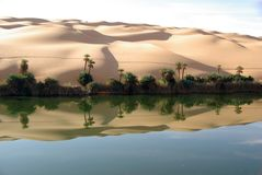 Lake in Libyan desert Royalty Free Stock Photography
