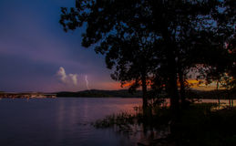 Lake Lightning at Sunset Royalty Free Stock Photo