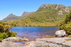 Lake Lilla and Cradle Mountain - Tasmania. A beautiful spot at the shore of Lake Lilla with a view of the Cradle Mountain - Tasmania, Australia stock images