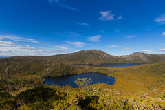 Lake Lilla and Dove Lake surrounded by green mountains at Cradle Royalty Free Stock Images