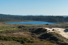 Lake Lily seen from a curve of Highway 101 off the coast stock photo
