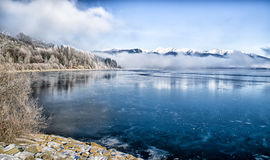 Lake Liptovska Mara covered in ice Royalty Free Stock Photos