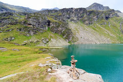 Lake Lobbensee and mountain Wildenkogel in Hohe Tauern Alps Royalty Free Stock Images