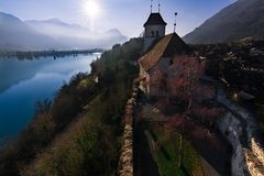 The lake located further north of Interlaken, Brienzersee in Switzerland. Located in a valley between mountains. stock images