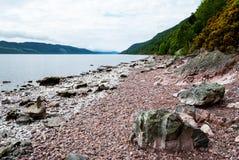 Lake Loch Ness, Scotland. Stone beach of lake Loch Ness, Scotland Royalty Free Stock Images