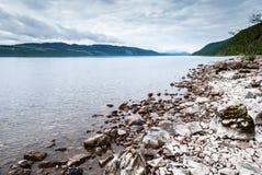 Lake Loch Ness, Scotland. Stone beach of lake Loch Ness, Scotland Stock Photography