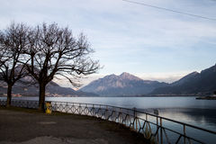 Lake in Lombardia. Lake of Lecco in Lombardia Royalty Free Stock Photo