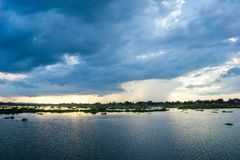 Lake, long corridors, beautiful sky Royalty Free Stock Image