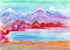 Lake of the longevity. Watercolour hand drawn landscape with mountain and lake Royalty Free Stock Image