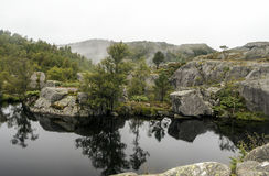 Lake on the lookout pulpit. In southern Norway on a cloudy day Royalty Free Stock Photography