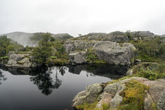 Lake on the lookout pulpit. In southern Norway on a cloudy day Stock Photography