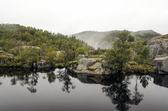 Lake on the lookout pulpit. In southern Norway on a cloudy day Stock Photos