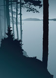 Lake Lookout. Silhouette of a misty view across a northern lake Stock Photos