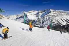 Lake Louise手段滑雪 免版税库存图片