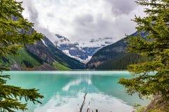 Lake Louise που πλαισιώνεται από τα δέντρα στοκ εικόνες