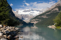 Lake Louise. In the Canadian Rocky mountains, with Mt Victoria and the Victoria Glacier in the background royalty free stock image