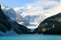 Lake Louise. And mountains in Banff National Park Royalty Free Stock Image