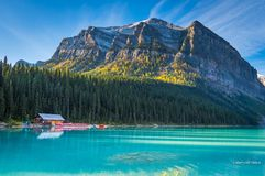 Lake Louise against mountain Stock Images