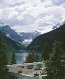 Lake Louise Alberta Canada. Victoria Glacier looks down over Lake Louise, Banf National Park. 6x7 Horseman drum scan Royalty Free Stock Images