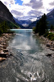 Lake Louise amazing scenery. Stunning colours of lake Louise and Rocky mountains Stock Photography