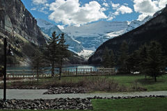 Lake Louise, Banff National Park, Alberta, Canada. Lake Louise, viewed from the Chateau Lake Louise waterfront. Lake Louise is just off the Icefields Parkway Stock Photography