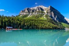 Lake Louise Banff nationalpark, Alberta, Kanada Fotografering för Bildbyråer