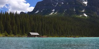 Lake Louise Boat House Royalty Free Stock Photo