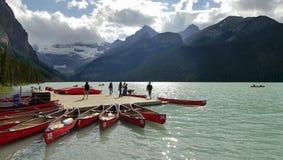 Lake Louise. Boats on the shore of Lake Louise.Banff National Park. Alberta, Canada. June 2015 Stock Photos